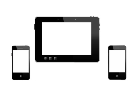 illustration of black tablet and two modern mobile phones isolated on white background illustration