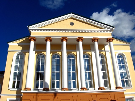 Architectural ensemble of great building with white columns photo