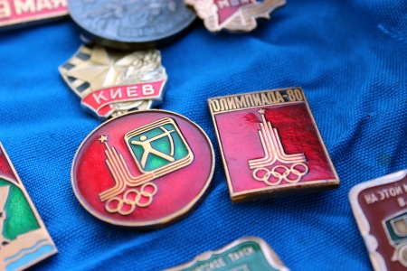 olympiad: Set of different Soviet badges about olympiad in Moscow 1981