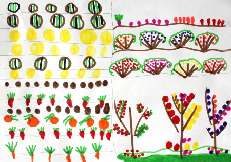 Multicolored children's drawing with many vegetables and fruits on the bed photo