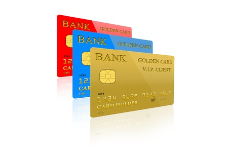 image of three credit card isolated on white background photo