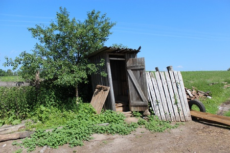image of rural toilet on background of blue sky Stock Photo - 20416327