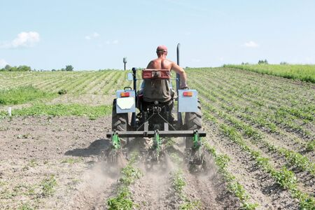 agronomic: image of special equipment on a tractor for weed in agriculture
