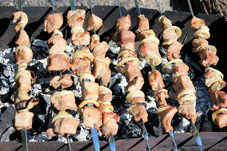 image of appetizing barbecue on the fire photo