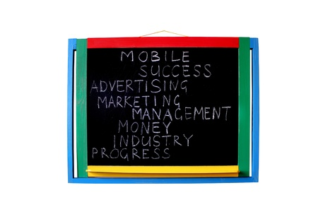 blackboard with written words business success money industry photo