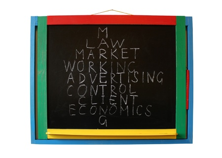 image of the main components of market showing on the blackboard photo