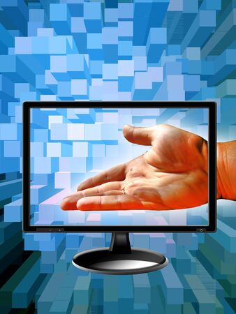 Human hand with modern monitor on abstract blue background photo