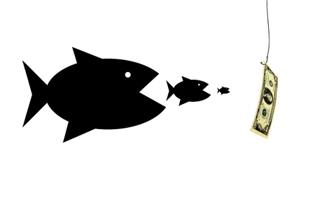 avidity: silhouettes of fishes devouring each other and pursuing for money