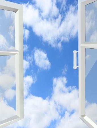 흰 구름과 하늘에 창을 열어 스톡 콘텐츠 - 22039304
