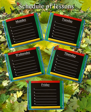 schedule of lessons for a week on the autumn leaves background photo