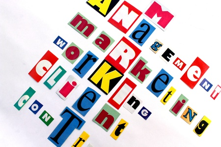 main components of market and business in multicolored letters photo