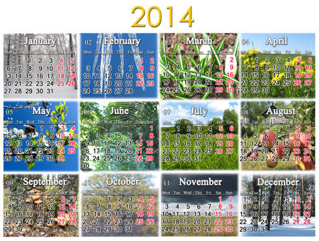 calendar for 2014 year on the background of great number of pictures photo