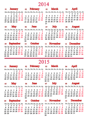 usual office calendar for 2014 - 2015 years on white background photo