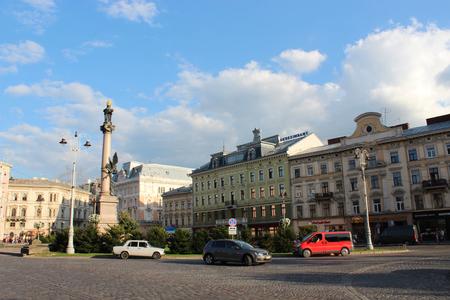 mickiewicz: Monument of polish poet Adam Mickiewicz in Lviv