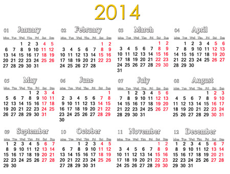 simple and accurate calendar for 2014 year isolated on white
