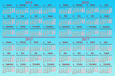 usual office calendar for 2014 - 2017 years isolated on light blue photo