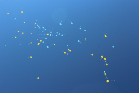 image of color balloons flying away to the sky photo