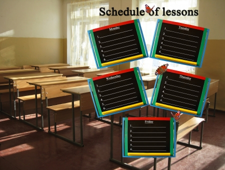 schedule of lessons for a week on the classroom background photo