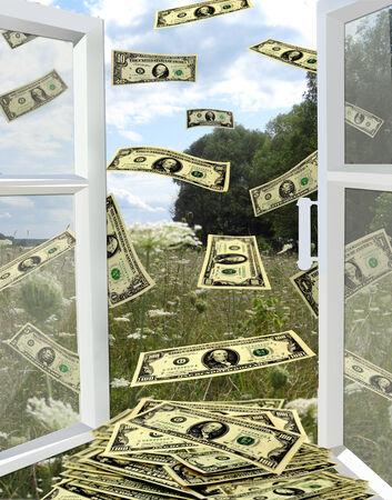 geopend venster naar de zomer veld en weg te vliegen dollars Stockfoto