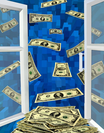 opened window to the blue abstraction and flying away dollars photo