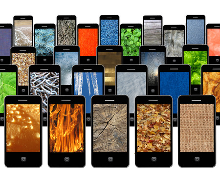 modern mobile phones with different images of texture photo