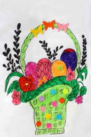 Childrens drawing with eggs of different colors for Easter photo