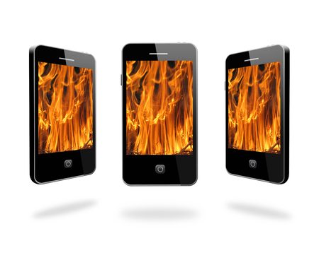 illustration of modern mobile phone with images of flame on the white  illustration