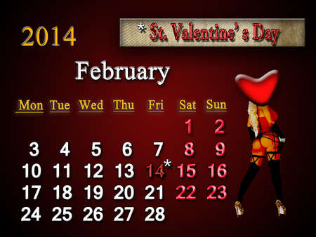 beautiful calendar of february of next year and sign of Valentine photo