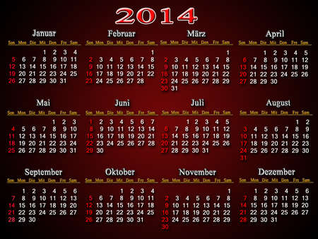 claret: beautiful claret and unusual calendar for 2014 year in German Stock Photo
