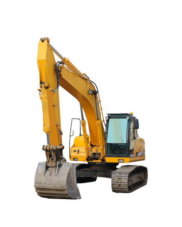 modern excavator isolated on the white  photo