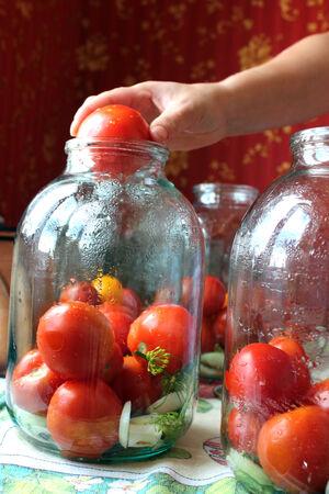preservation: many tomatos in jars prepared for preservation