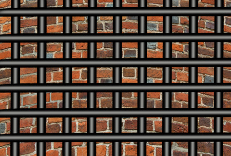 imprisoned: Prisons bars and wall from red brick Stock Photo