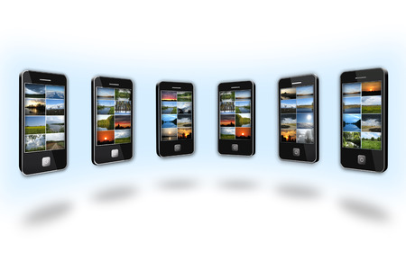 modern mobile phones with different colored images photo