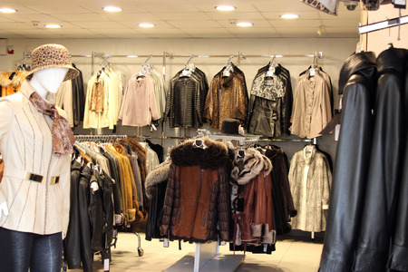 outer clothing: great assortment in shop of outer clothing