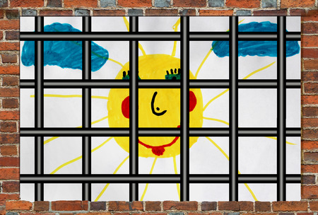 larceny: Prisons window with bars and childrens drawing outside with sun and clouds Stock Photo