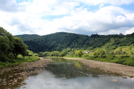 mountainous: beautiful landscape with speed water in mountainous river