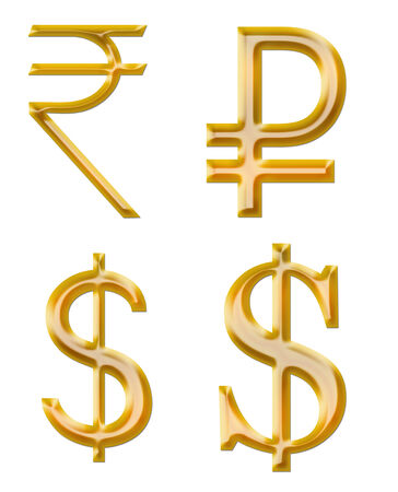 designation: signs of currencies  rupee, ruble, dollar Stock Photo