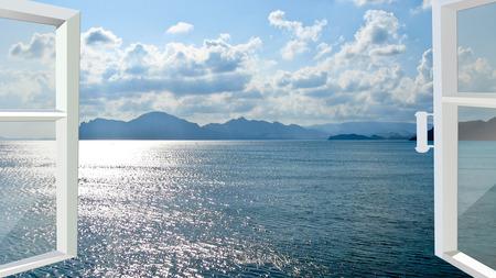 wit frame van geopende venster op de golven van de zee