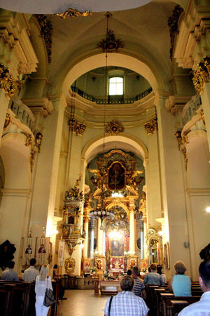 White hall in the beautiful Catholic church