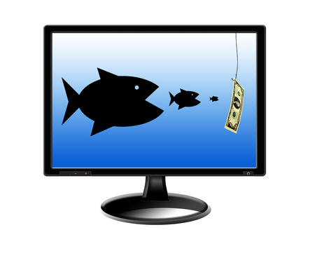 pursuing: fishes devouring each other and pursuing for money on the screen of monitor