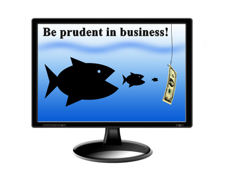 summons: fishes devouring each other and pursuing for money on the screen of monitor