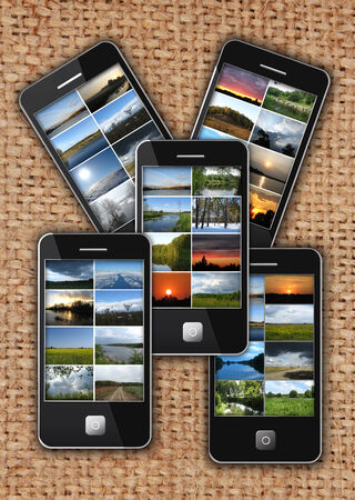 modern mobile phones with different images photo