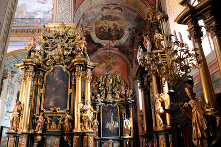 iconostasis: interior in the beautiful hall in Catholic church