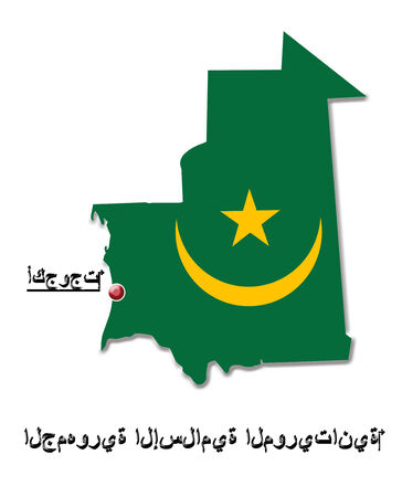 map of Islamic Republic of Mauritania in colors of its flag and designation of capital photo