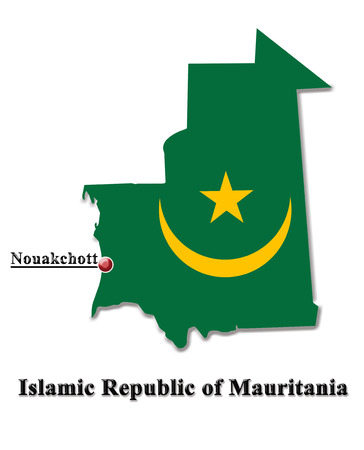 map of Islamic Republic of Mauritania in colors of its flag isolated on white photo