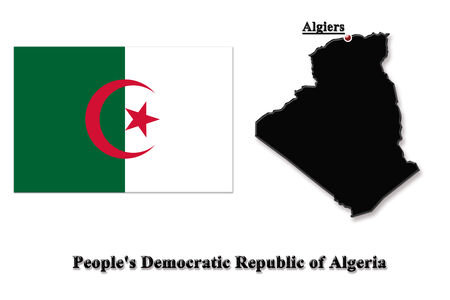 map of Peoples Democratic Republic of Algeria in colors of its flag isolated on white photo