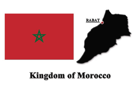 map of Kingdom of Morocco in colors of its flag isolated on white photo