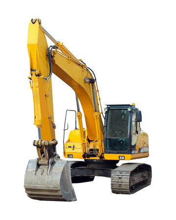 motor hoe: modern excavator isolated on the white background