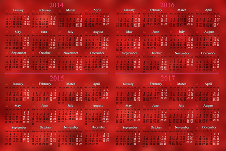 office calendar for 2014 - 2017 years on the cherry background Stock Photo