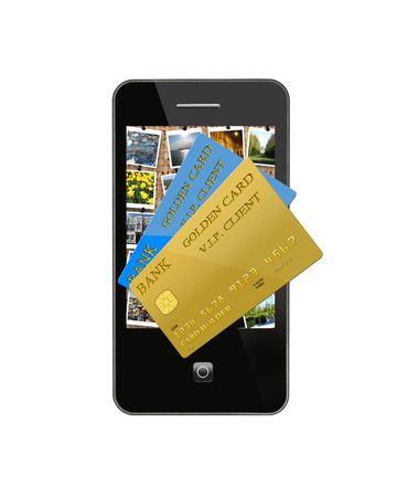 modern mobile phone with different credit cards photo